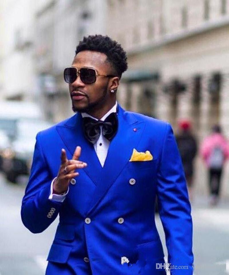 Yeni Klasik Damat Smokin Groomsmen Kraliyet Mavi Best Man Suit Düğün erkek Blazer Takımları (Ceket + Pantolon) Custom Made