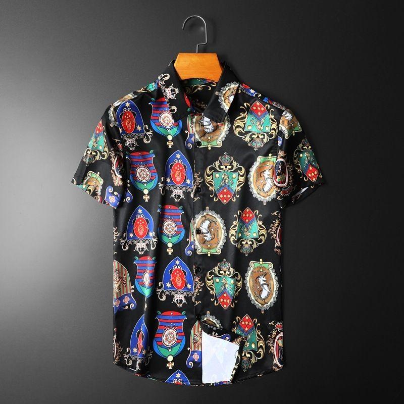 2020 camisa de mangas curtas finos impressos NQNS Camisa Casual