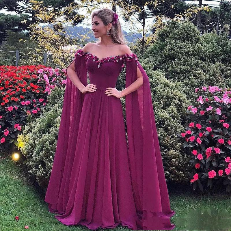 Formal Dresses Evening Wear Long Sleeves Off Shoulder Appliques Chiffon Prom Dress Long Pleats Cheap African Party Gowns Vestidos
