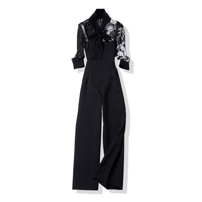 Женская мода с цветочным принтом шифоновые топы с бантом воротник рубашки спагетти черный костюм брюки из двух частей комплект