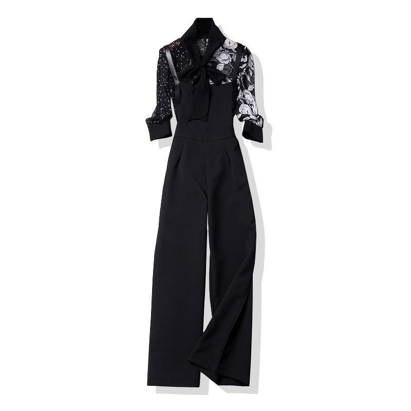 Mulheres moda floral impressão chiffon tops arco gola camisas cinta de espaguete preto terno de calça duas peças set