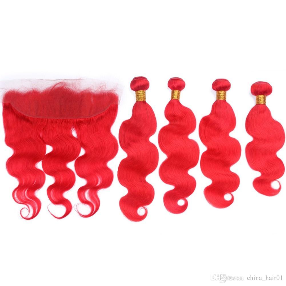 Peruana Cabelo Humano Pure Corpo vermelho da onda 4Bundles e frontal Encerramento da orelha à orelha vermelho brilhante corpo ondulado Lace frontal 13x4 com Weaves