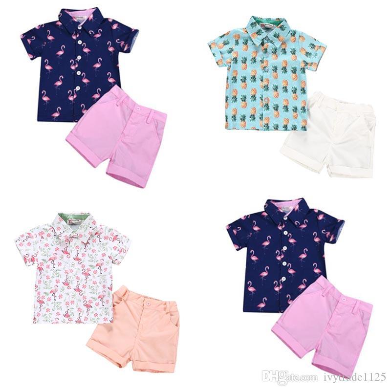 Boy Niños ropa de verano Establece gira el collar abajo del flamenco de la corto manga de la camisa + short conjuntos de ropa del verano