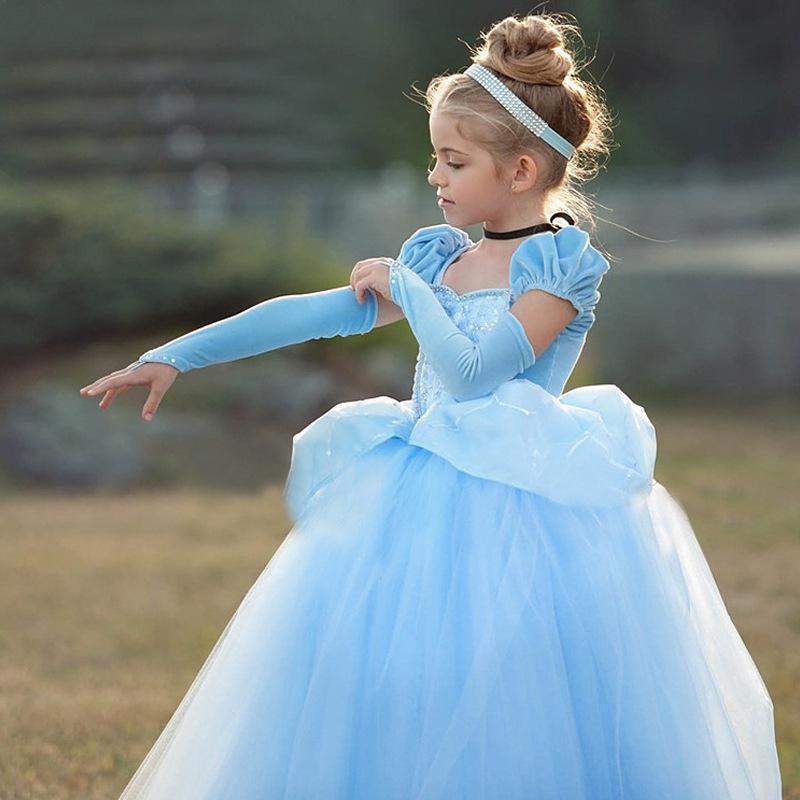 여자 신데렐라 드레스 코스프레 의상 어린이 퍼프 슬리브 자수 블루 의류 아이 크리스마스 생일 공주 드레스 Y200623 최대
