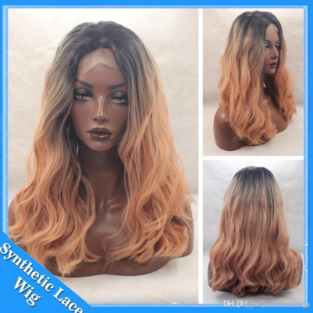 Pêssego Rosa Ombre cabelo Sintético Rosa Natural Onda Peruca Dianteira Do Laço Longo natural linha fina de dois tons estilo de cabelo resistente ao Calor para as mulheres Negras