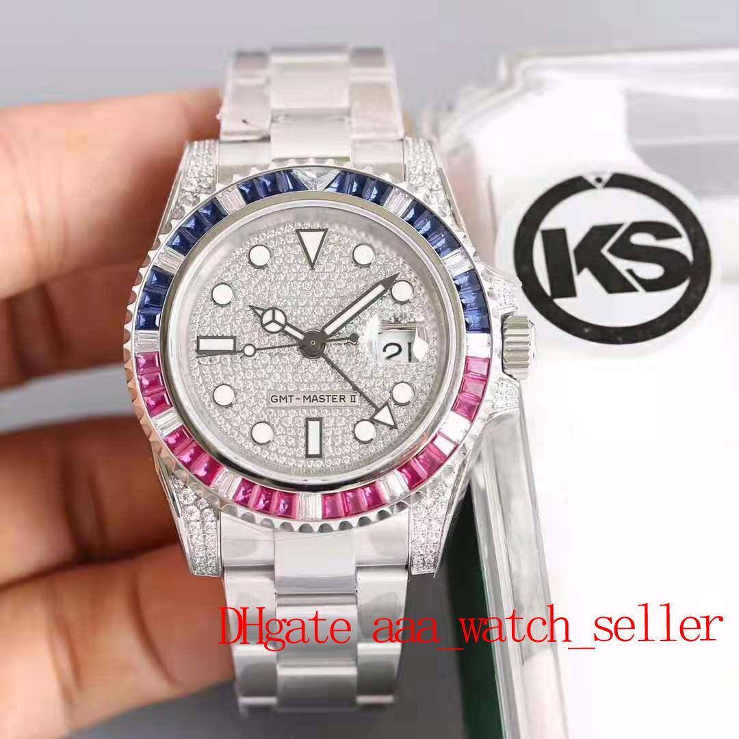 Top Quality Luxury Mens Gestore KS Versione GMT 116759 SA Diamond Diamond Rainbow Bezel 2836 Movimento automatico Impermeabile 50m Iced Out Gear