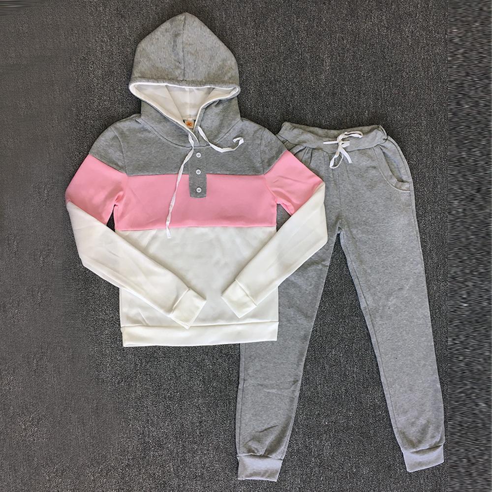 Eşofman 2adet Kadınlar Seti Kapüşonlular Mahsul En Kazak + Yan Çizgili Pantolon Kapşonlu 2 adet Kadınlar Giyim Artı boyutu Suit Kadın V191022 ayarlar