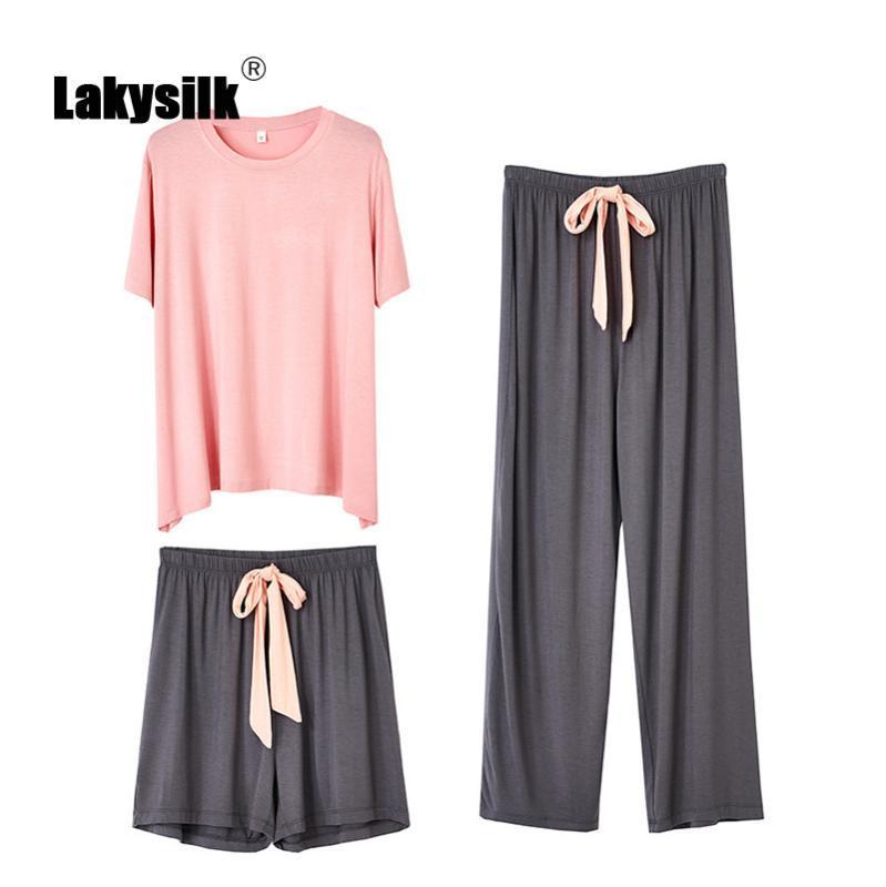 Les femmes pyjamas 100% coton Casual Hit en vrac Couleur Accueil Vêtements Femme Printemps Eté Automne Pyjama Cozy Ensembles trois pièces