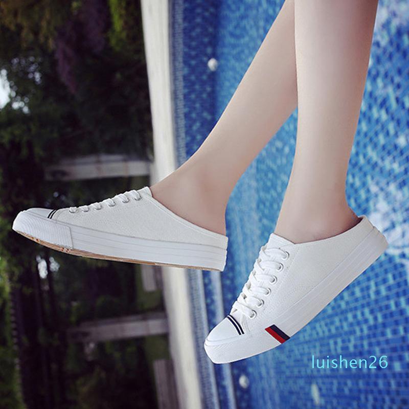 Nouveau Chaussures de toile d'été Femmes Mode Chaussures Flats été Jeune femme Slip sur Casual Chaussures Noir Blanc