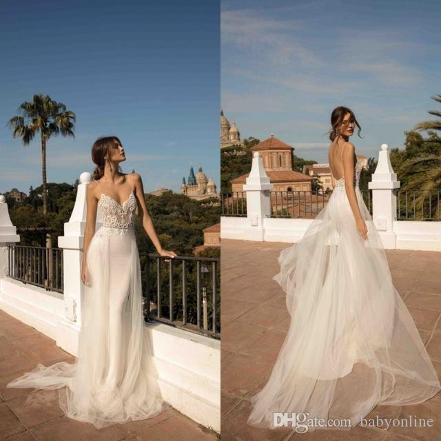 2020 Novo Vestidos de Noiva de Sereia Backless Vestidos de Novia Spaghetti Strap Appliques com Removível Tule Saia Vestidos Bridais Boho