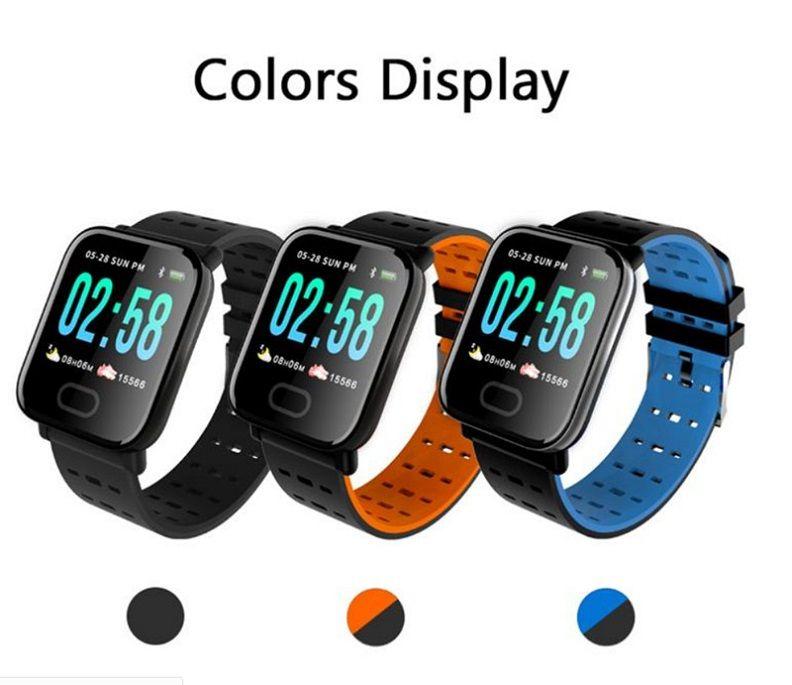 A6 fitbit الرياضة الذكية الفرقة ضغط الدم الذكية سوار القلب رصد معدل السعرات السعرات الحرارية المقتفي IP67 Waterproof Wrisband Watch