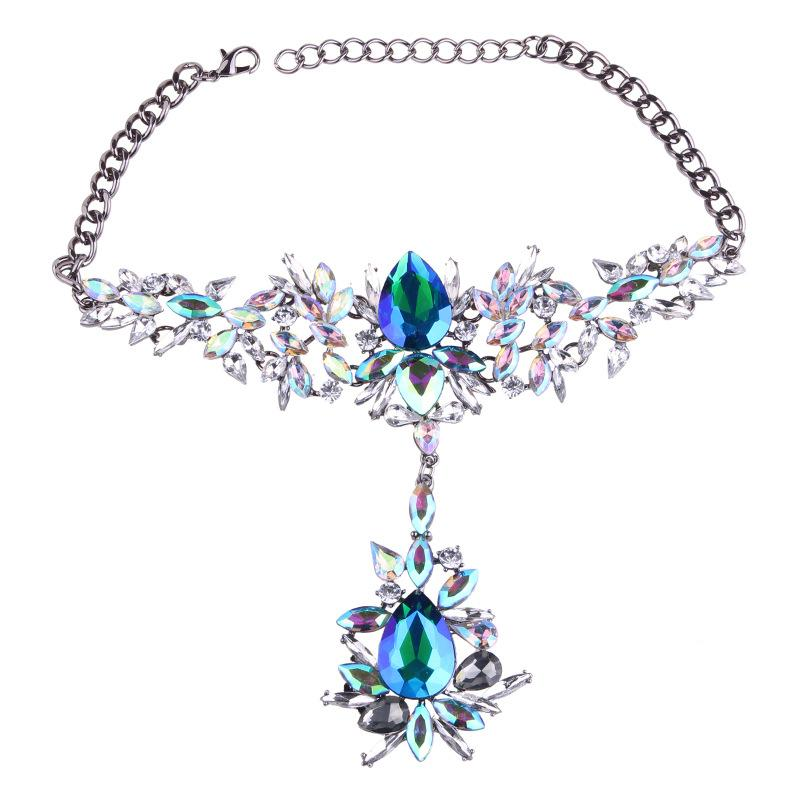 4 Colors Crystal & Rhinestone Flower Necklace Chain Bling Jewelry Choker Necklace with Big Glass Beads for Women Girls