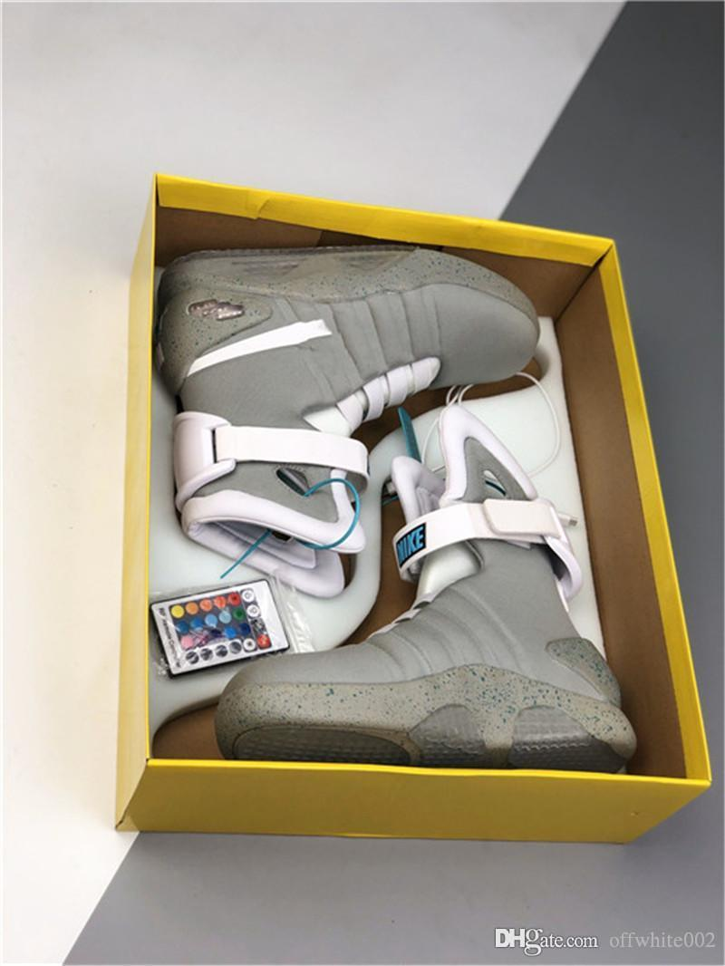 2020Limited Ausgabe Air Mag Back To The Future Glow In The Dark Grey Sneakers Marty McFly LED-Schuh-Schwarz-Mag Marty McFlys Stiefel mit