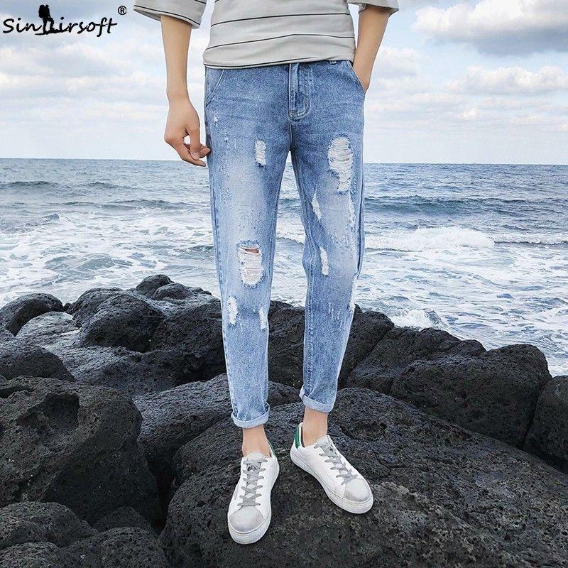 Tear The Hip Hop Skateboard Cowboy Men Blue Classic Design Trend Pants Tight Feet Korean Street Jogging Fashion Slim Jeans 36