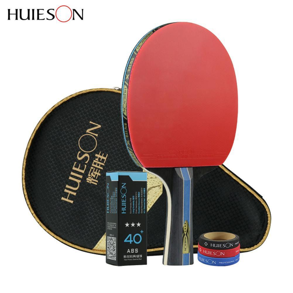 Huieson 4 Star Carbon Fiber Table Tennis Racket Double Pimples-in Rubber Pingpong Racket With Bag Table Tennis Ball Edge Protect C18112001