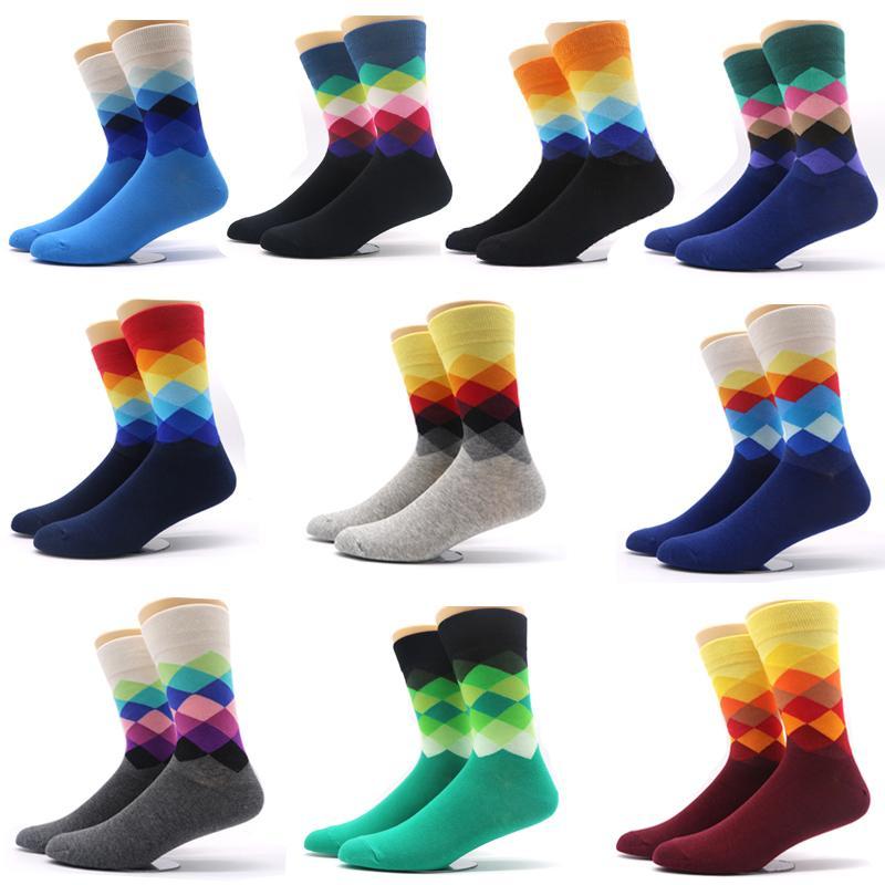 10 par / lote calcetines de los hombres estilo de color degradado hombre hombre calcetines de compresión vestido ocasional largo calcetines de negocios Meias Calcetines HombreQ190401