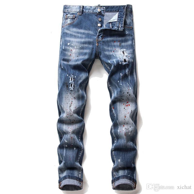 ملابس الرجال الفريدة رسمت بنطلون جينز رشيق مناسب مصمم أزياء نحيف مغسول بنطلون الموتوسايكل المهترئ بنطلون راكبي الدراجات الهيب هوب 1066