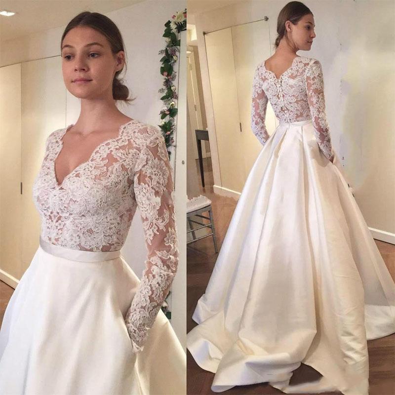 Modest mangas compridas País vestidos de noiva com bolsos Lace V-neck Trem da varredura A linha Custom Made baratos vestidos de noiva