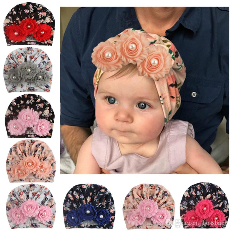 Baby Girls Indian Hats Infant Sun Floral Pearl Caps Kids Outdoor Slouchy Beanies Toddler Printed Skull Caps Enfant Crochet Hats 06
