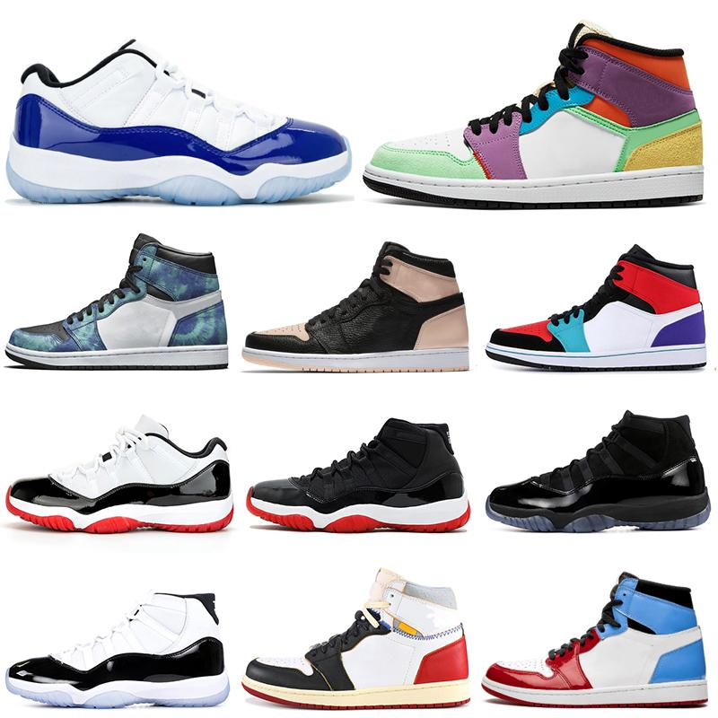 Jumpman 1 11 Men Basketball Shoes 11s Concord Bred Cap And Gown 1s