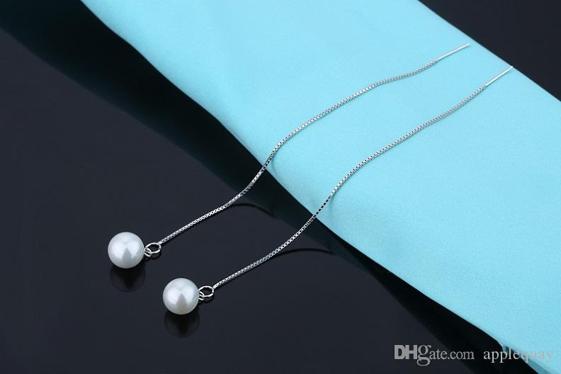 s925 Silver Earrings Dangles Long Wire 925 Silver Ear Line Woman's Jewellery White Pearl Hot Sell Valentine's Day Party Gifts 125mm 6 pairs