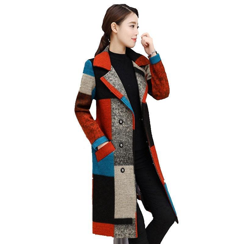 Женщины Осень Зима Пальто Теплая шерсть бленды Пальто пэчворк Mid-Long Женский пальто Мода куртки Outwear Плюс Размер