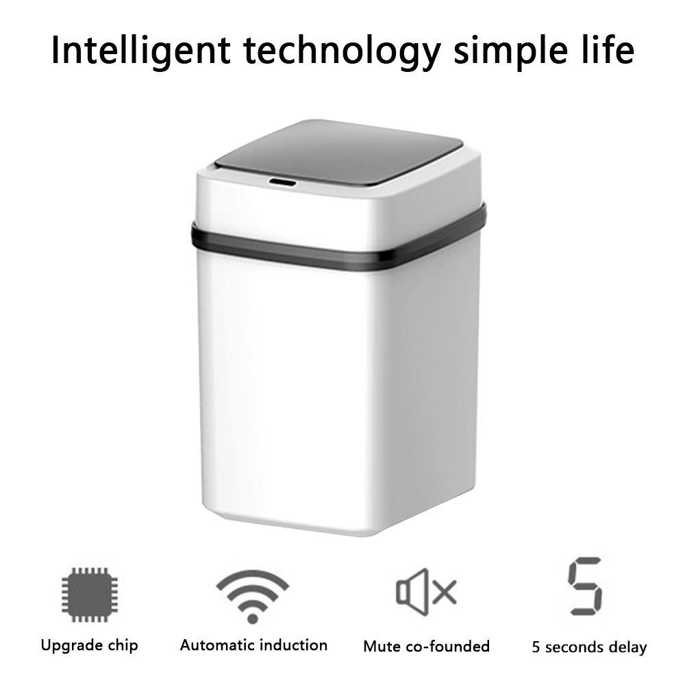 10L Akıllı Çöp kutusu Otomatik Hareket Dedektörü Dustbin Akıllı Çöp Kutusu Sessiz Çöp Torbası Konteyner İçin Mutfak Banyo Y200429