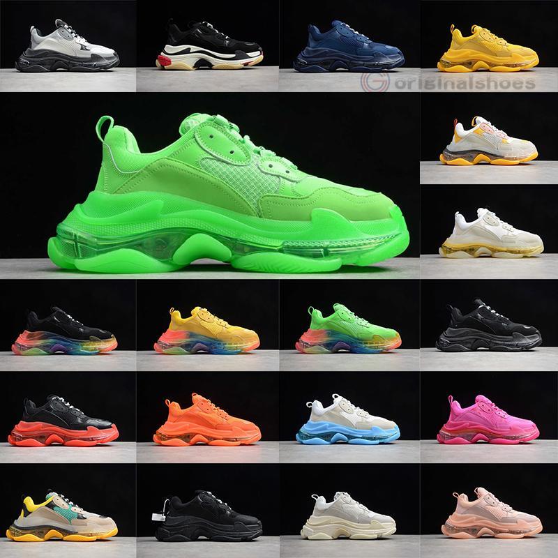 2020 nuova moda di Parigi 17FW Triple S Sneakers parte inferiore di cristallo Vecchio Papà nonno pattini casuali Tripler Stivali uomo Donne Verde Bianco Vintage