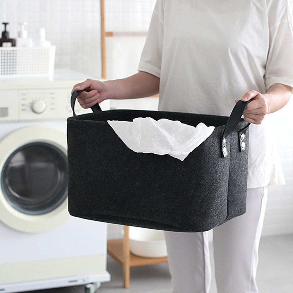 Foldable Laundry Basket Felt Toy Book Storage Basket with Handle Dirty Clothes Container Living Room Bathroom Desktop Organizer