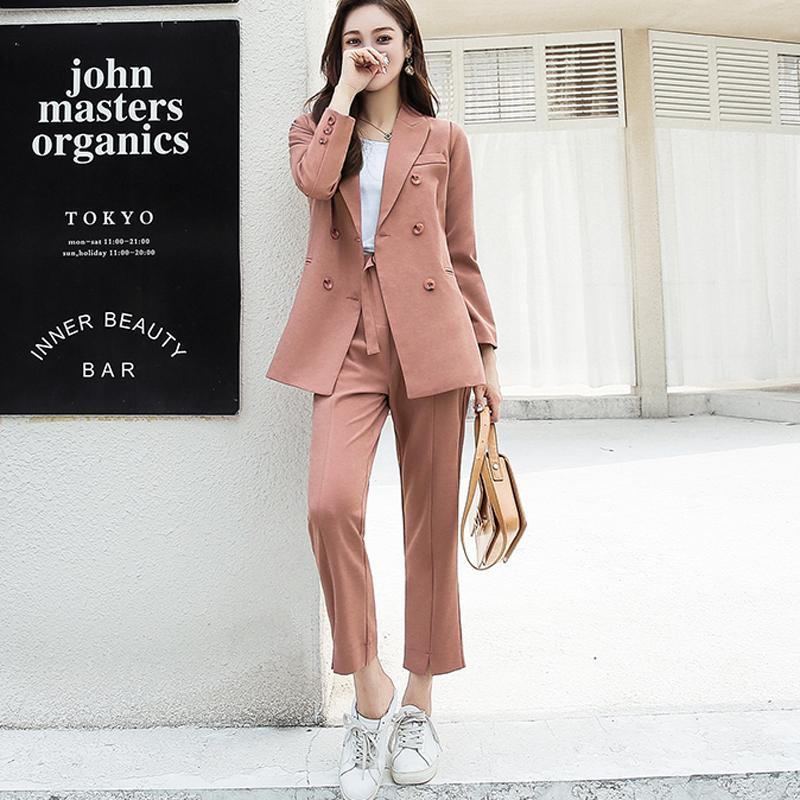 Autunno Donna Pantalone Doppio petto Colletto con risvolto dentellato Giacca Blazer Fusciacche Pant lavorata casual da lavoro 2019 alta qualità