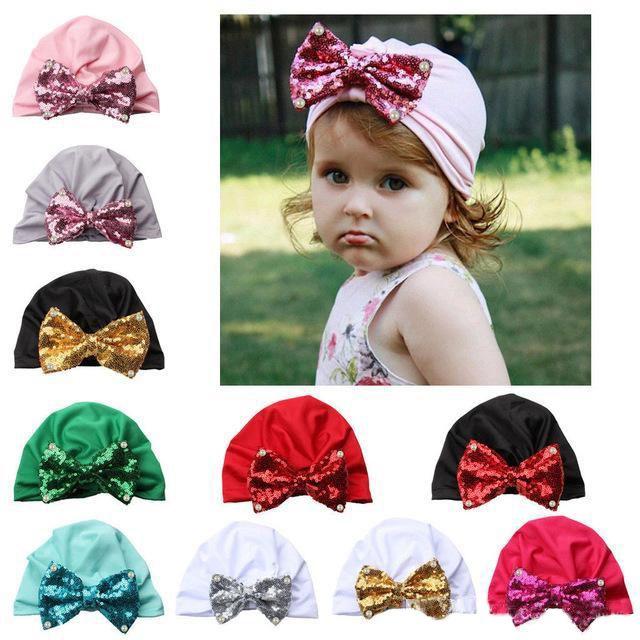 Paillette Bowknot Hat Lentejuelas para bebés Nudo Princesa Gorro de algodón suave Infantil Recién nacido Beanie Hat Primavera Otoño 10 colores
