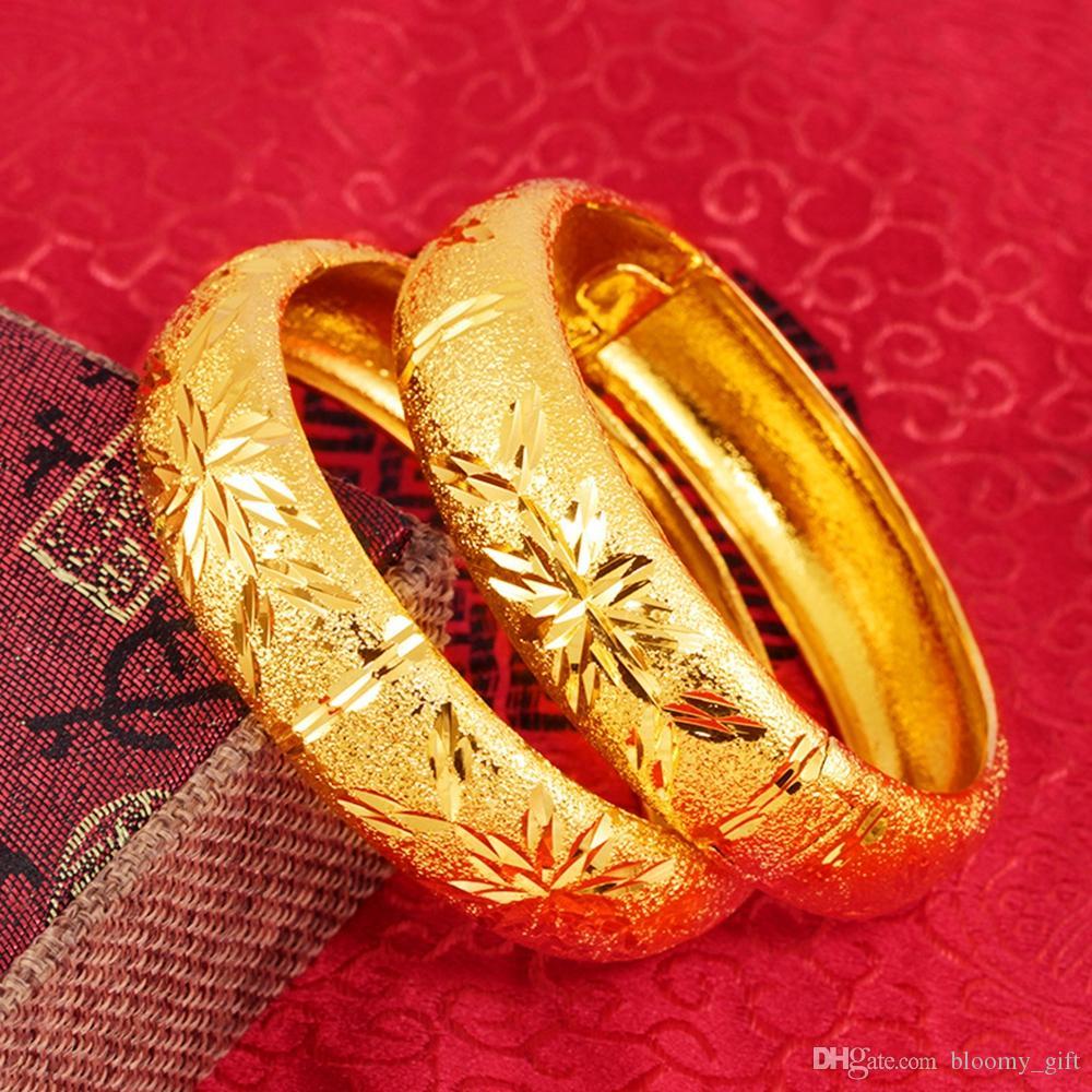 1 Pz stile classico festa di nozze Womens braccialetto oro giallo 18k riempito Spesso largo apribile BRACCIALE Accessori di moda