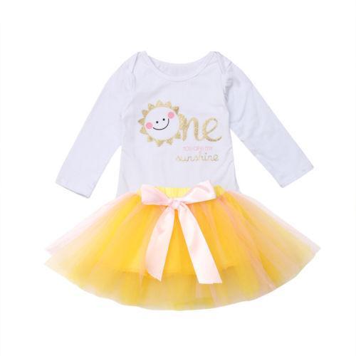 Infantis bebé primeiro Roupas aniversário mangas Romper Tulle vestido Tutu roupas de festa