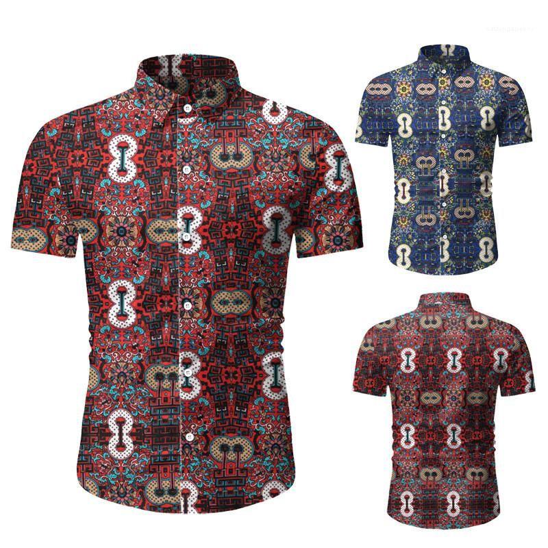 Повседневный Сплошные цвета отворотом шеи рубашки Мода Пляж Стиль рубашки Мужская одежда Летняя Проектировщик Мужские рубашки печати
