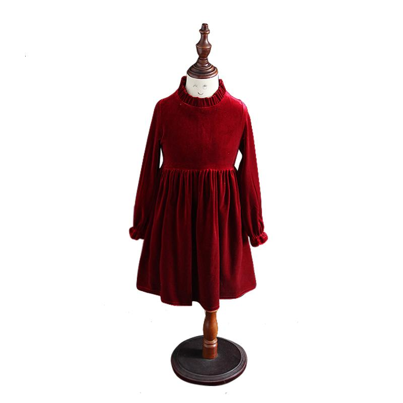 Kinder Winter Langhülse Kleider Alter für 4-14 Jahre Teenager-Mädchen Samt eleganten Abendkleid Partei 2019 Frühling Schulkind Kleidung T191006