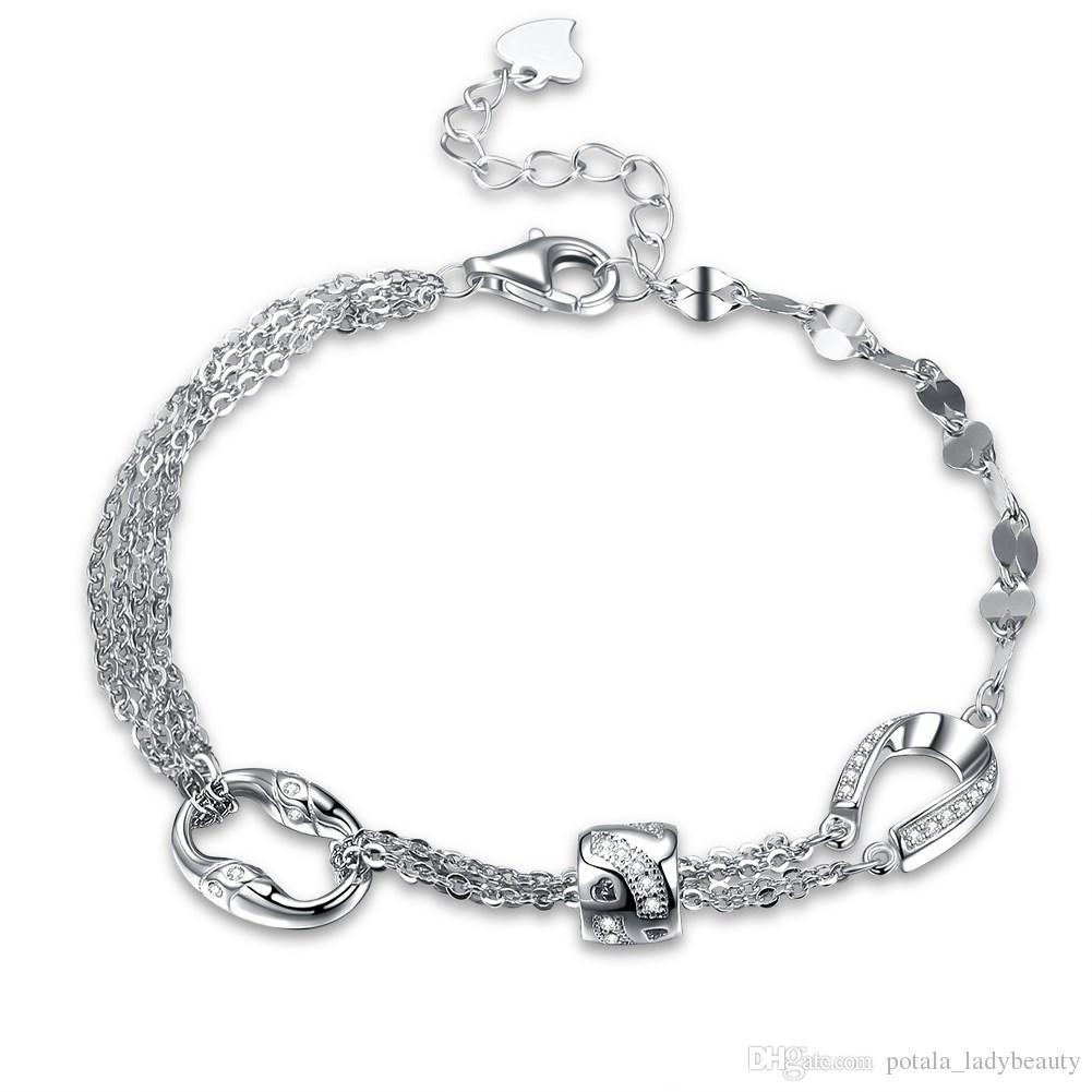 Beadings S925 스털링 실버 트위스트 체인 매력 팔찌 할로우 하트 다이아몬드 기하학적 지르콘 매력적인 보석 웨딩 인기 POTALA204