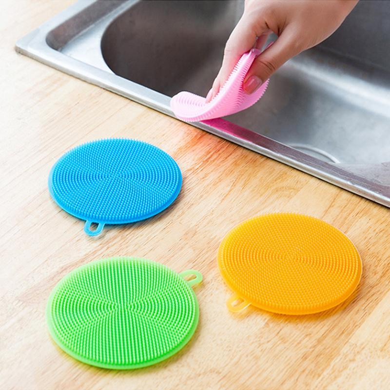 Dish Pad Pot Pan Wash Brushes Silicone bacia Escovas de limpeza multifuncional 5 cores Vasculhando Cleaner Cozinha Prato de lavagem Ferramenta BC BH0718