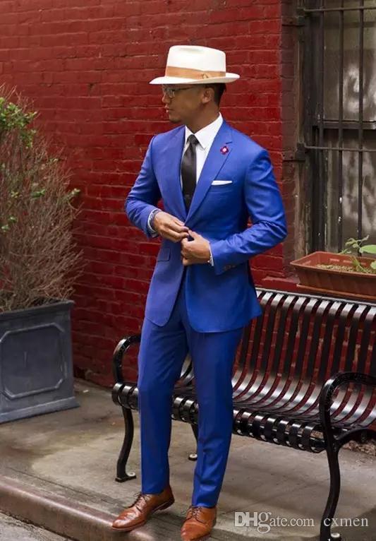 Royal Blue Men Suits Wedding Handsome Groom Tuxedos Business Bridegroom Party Prom Wear Slim Fit Men Blazer 2 Pieces (Jacket+Pants)