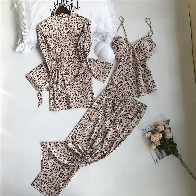 Calças da mulher CANÇÃO julho Primavera Pijama 3 peças de cetim Faux Silk Leopard Impressão sono Pijamas Autumn Sling longas Homewear T200612