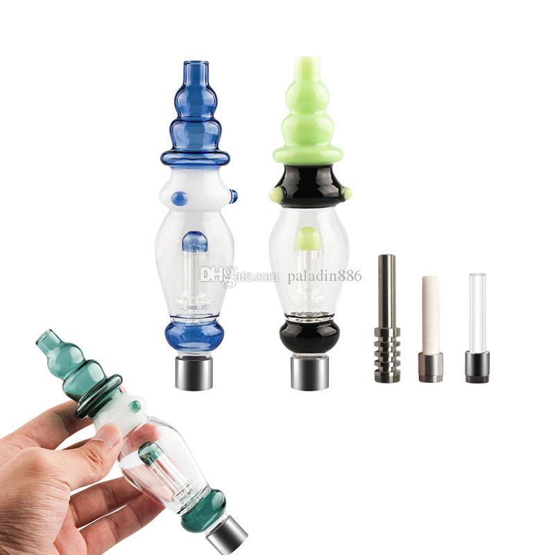 510 Gewinde Heady Farbe Glas Handpfeifen mit Titan-Nagel-Quarz-Keramik-Spitzen nageln Mini Dab Stroh Glas Wasserpfeifen Bongs