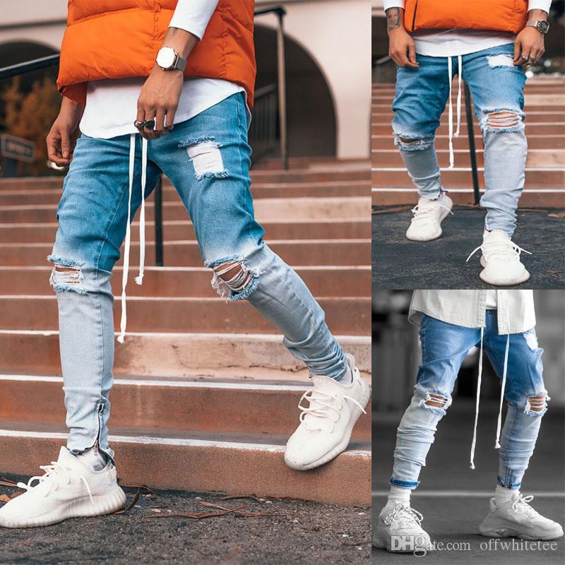 التدرج اللون مصمم رجالي جينز ثقوب سحاب سروال رصاص ستريت ستايل كول عارضة أزياء جينز رجالي