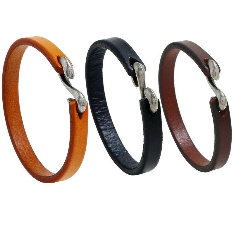 Uomini Bracciale Vintage Black / Brown Hook Vera Pelle Bracciale Uomo Wristband dei braccialetti Maschio Gioielli 21,5 centimetri