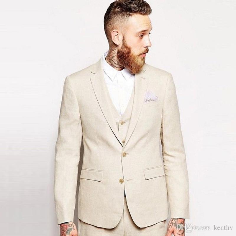 2019 bege de linho Homens Ternos de casamento Blazer Noivo Groomsman do noivo desgaste feito sob encomenda Slim Fit Formal 3pieces Best Man smoking Prom