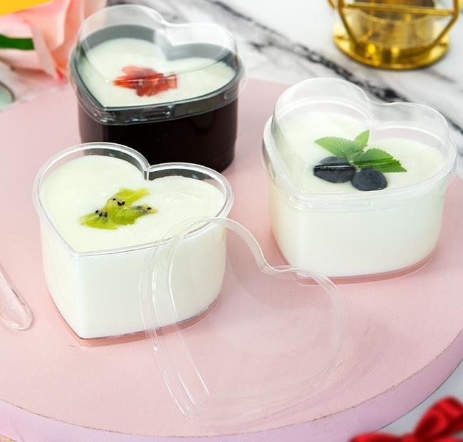 Heart love creative dessert cups 150ml pudding jelly yogurt cup cake mousse baking package transparent hard plastic box