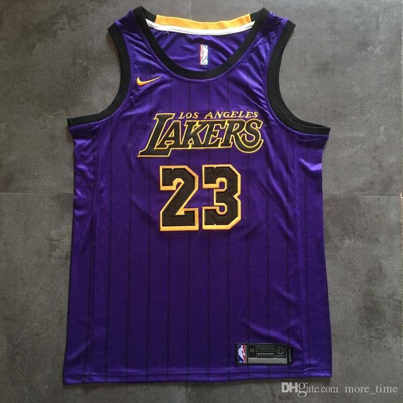 innovative design 992c5 34780 2019 2019 Mens LeBron James City Purple Fashion Swingman Jersey Top Quality  Los Angeles Laker LeBron 23 James Basketball Jerseys Dense Embroidery From  ...