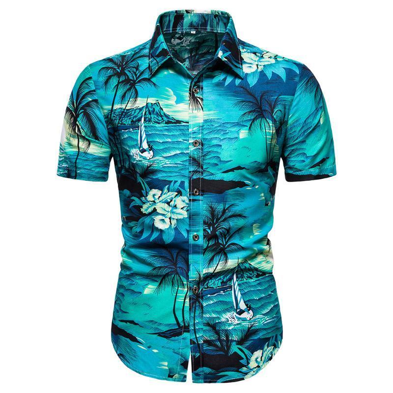camicie da uomo manica lunga di alta qualità di stampa hawaiana beachwear maniche corte casuale allentata camicie floreali maschio Plus Size 5.29