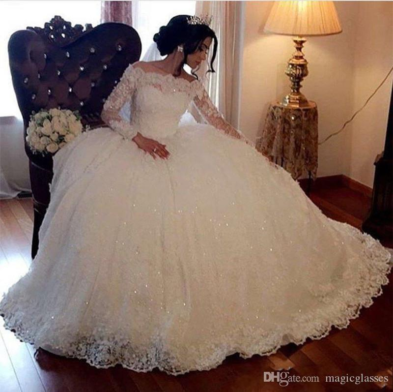 Ball Gown Wedding Dresses Vintage Long Sleeves Lace Appliques Sequins Puffy Arabic Dubai Formal Church Bridal Gowns Plus Size