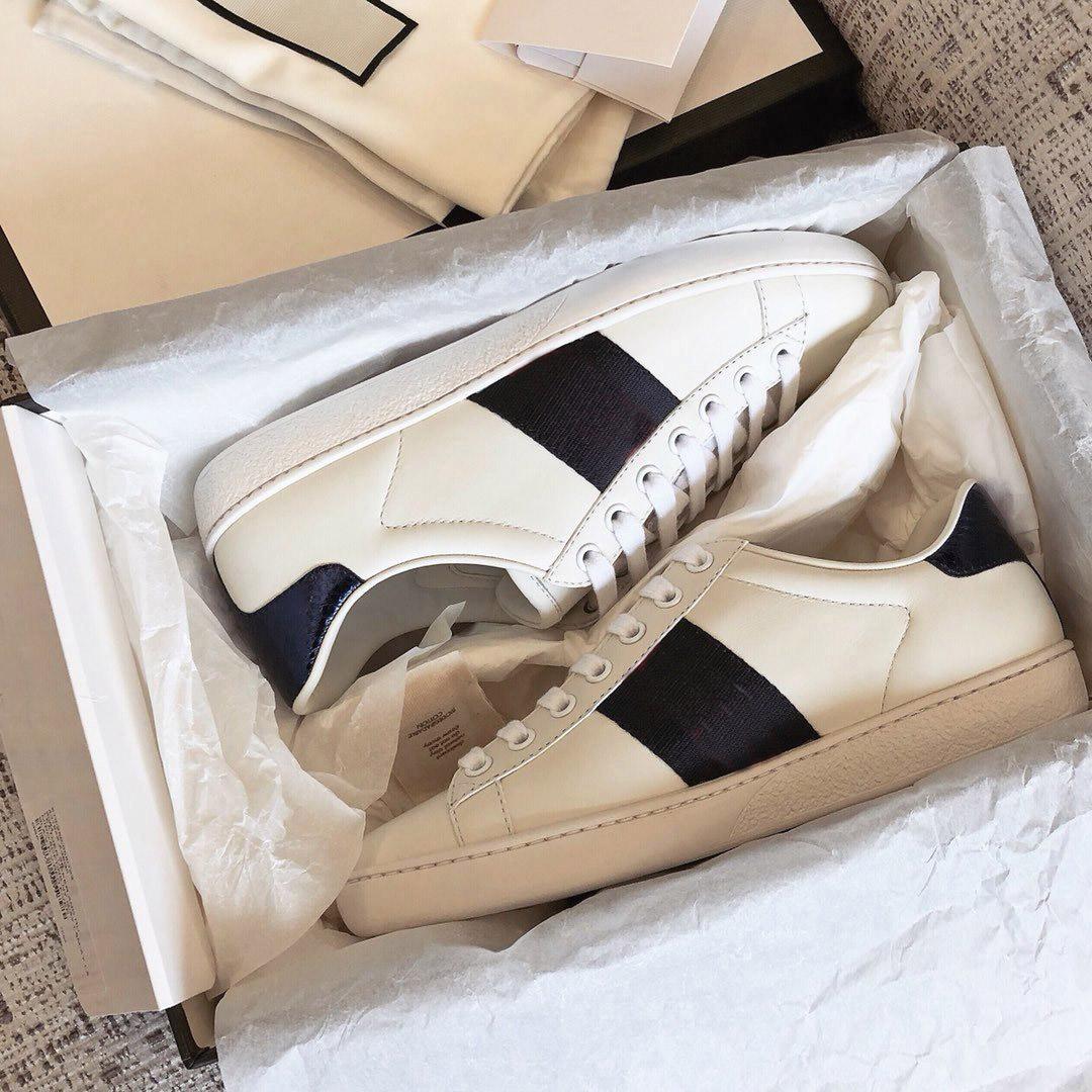 مصمم أحذية ACE مطرز النمر الابيض النحل الأفعى أحذية حقيقية مصمم جلد حذاء منصة الرجال النساء الآس أحذية عارضة size35-49