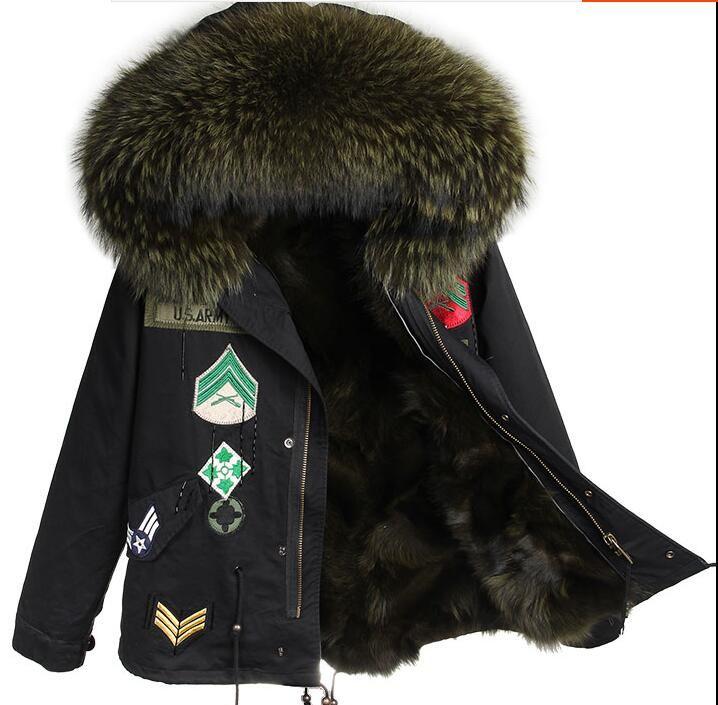 Moda guarnição da pele de guaxinim Escuro verde maomaokong marca verde escuro forro de pele de raposa mini jaquetas de lona preta com Apliques