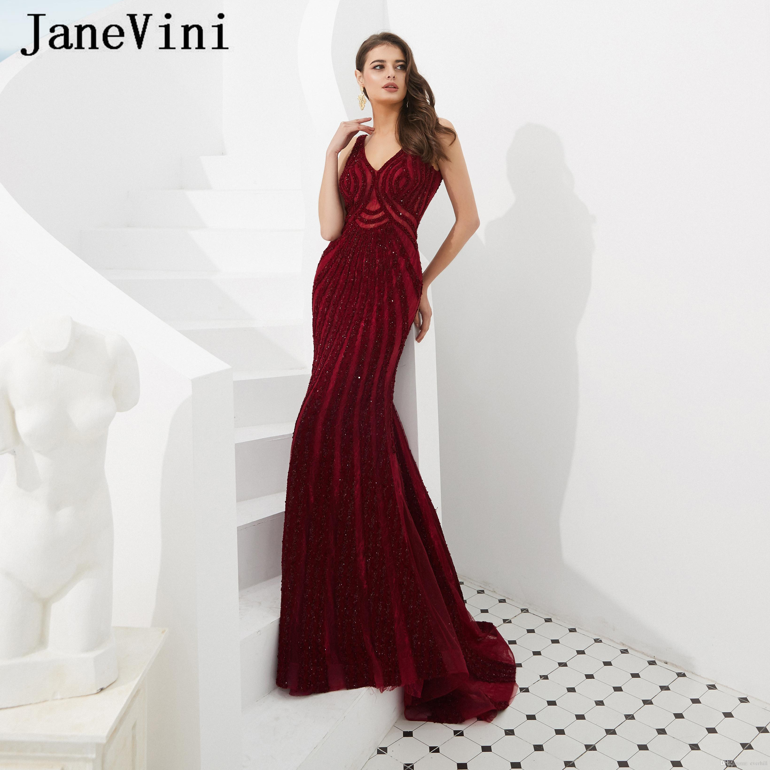 JaneVini New Arrival Long Burgundy Prom Dresses Robe De Gala Sexy V Neck Luxury Beading Tulle Sweep Train Mermaid Formal Evening Party Gowns